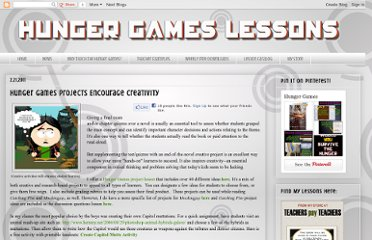 http://www.hungergameslessons.com/2011/02/hunger-games-projects-encourage.html