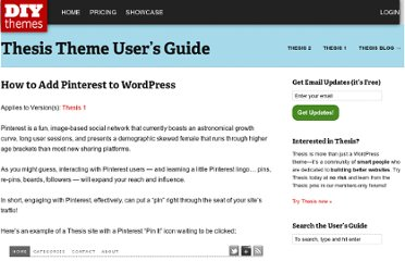 http://diythemes.com/thesis/rtfm/add-pinterest-pins-wordpress/