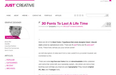 http://justcreative.com/2008/03/02/30-best-font-downloads-for-designers/