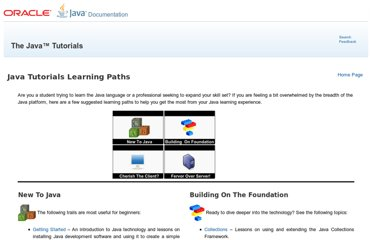 http://docs.oracle.com/javase/tutorial/tutorialLearningPaths.html