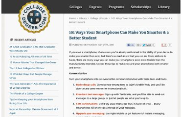 http://www.collegedegree.com/library/college-life/101_ways_to_make_your_smartphone_smarter