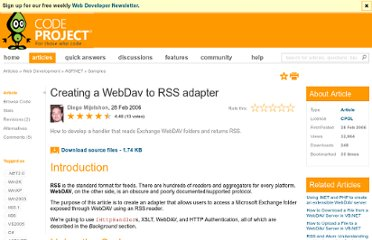 http://www.codeproject.com/Articles/13252/Creating-a-WebDav-to-RSS-adapter