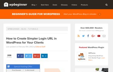http://www.wpbeginner.com/wp-tutorials/how-to-create-simpler-login-url-in-wordpress-for-your-clients/