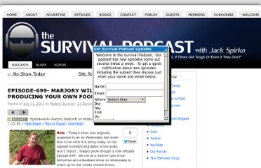 http://www.thesurvivalpodcast.com/marjory-wildcraft-on-producing-your-own-food