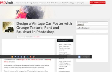 http://www.psdvault.com/photo-effect/design-a-vintage-car-poster-with-grunge-texture-font-and-brushset-in-photoshop/