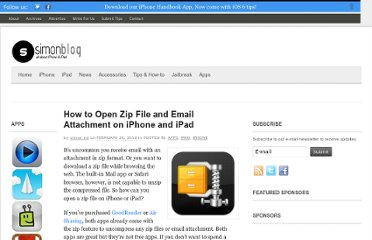 http://www.simonblog.com/2012/02/20/how-to-open-zip-file-and-email-attachment-on-iphone-and-ipad/