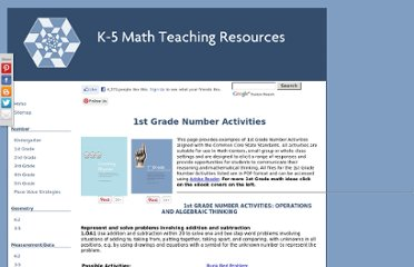 http://www.k-5mathteachingresources.com/1st-grade-number-activities.html