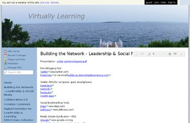 http://virtuallylearning.wikispaces.com/Building+the+Network+-+Leadership+&+Social+Media