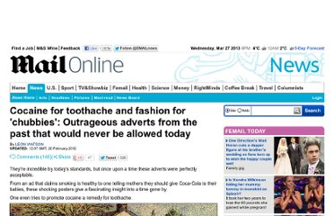 http://www.dailymail.co.uk/news/article-2103400/Cocaine-toothache-The-outrageous-adverts-allowed-now.html