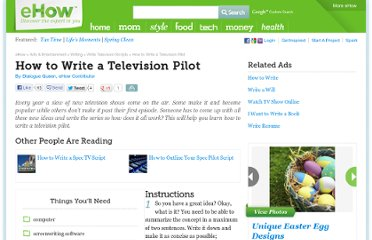 How to write television series