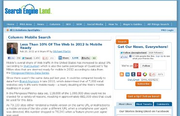 http://searchengineland.com/less-than-10-of-the-web-in-2012-is-mobile-ready-112101