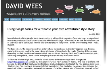http://davidwees.com/content/using-google-forms-choose-your-own-adventure-style-story