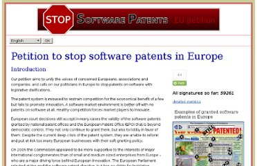 http://petition.stopsoftwarepatents.eu/211000297544/