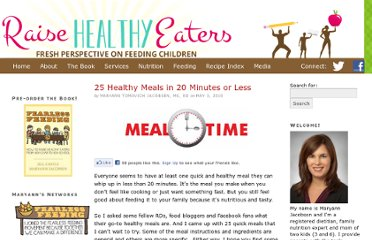 http://www.raisehealthyeaters.com/2010/05/25-healthy-meals-in-20-minutes-or-less/