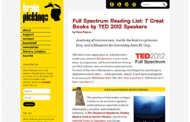 http://www.brainpickings.org/index.php/2012/02/20/ted-2012-full-spectrum-reading-list/