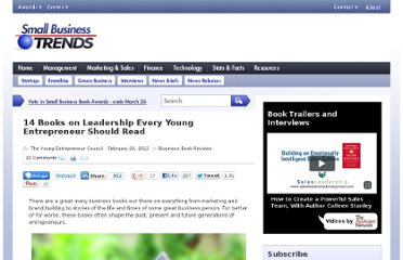 http://smallbiztrends.com/2012/02/14-books-on-leadership-every-young-entrepreneur-should-read.html