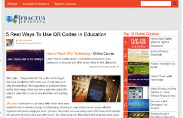 http://www.fractuslearning.com/2012/02/20/qr-codes-in-education/
