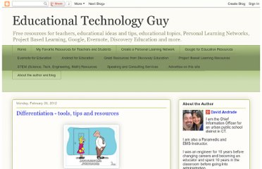 http://educationaltechnologyguy.blogspot.com/2012/02/differentiation-tools-tips-and.html