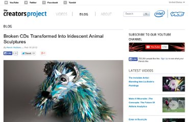 http://thecreatorsproject.com/blog/broken-cds-transformed-into-iridescent-animal-sculptures