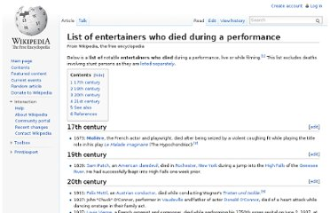 http://en.wikipedia.org/wiki/List_of_entertainers_who_died_during_a_performance