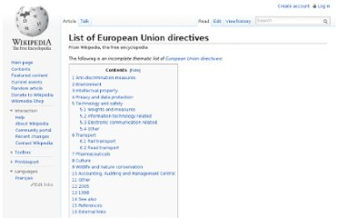 http://en.wikipedia.org/wiki/List_of_European_Union_directives