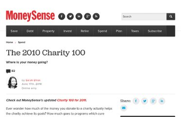 http://www.moneysense.ca/2010/06/17/the-charity-100/