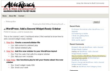 http://ablereach.com/wordpress/wordpress-add-a-second-widget-ready-sidebar/