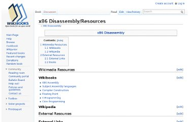 http://en.wikibooks.org/wiki/X86_Disassembly/Resources