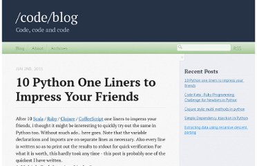 http://codeblog.dhananjaynene.com/2011/06/10-python-one-liners-to-impress-your-friends/