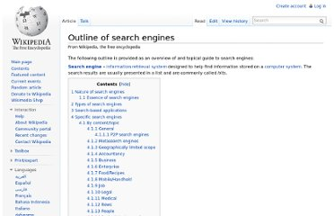 http://en.wikipedia.org/wiki/Outline_of_search_engines