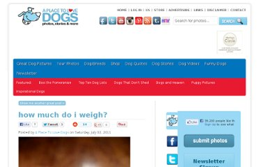 http://www.aplacetolovedogs.com/2011/07/how-much-do-i-weigh/1486617855/