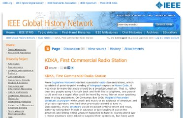 http://www.ieeeghn.org/wiki/index.php/KDKA,_First_Commercial_Radio_Station