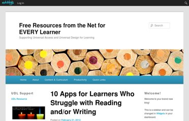 http://paulhami.edublogs.org/2012/02/21/10-apps-for-learners-who-struggle-with-reading-andor-writing/