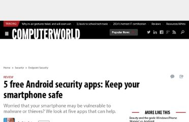http://www.computerworld.com/s/article/9224244/5_free_Android_security_apps_Keep_your_smartphone_safe