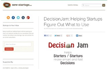 http://www.new-startups.com/entrepreneurship/decisionjam-helping-startups-figure-out-what-to-use/