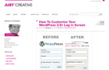 http://justcreative.com/2008/04/03/how-to-customise-your-wordpress-log-in-screen/