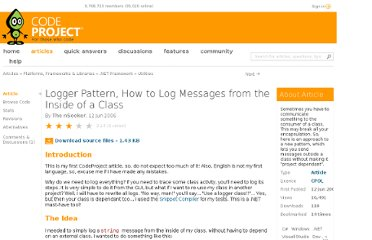 http://www.codeproject.com/Articles/14421/Logger-Pattern-How-to-Log-Messages-from-the-Inside