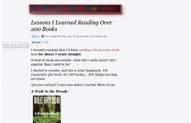 http://inoveryourhead.net/lessons-i-learned-reading-over-200-books/