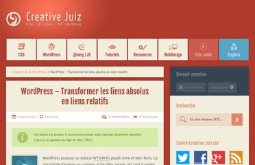 http://www.creativejuiz.fr/blog/wordpress/wordpress-transformer-liens-absolus-en-liens-relatifs