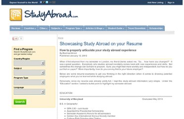 http://www.studyabroad.com/articles/showcasing-study-abroad-on-your-resume.aspx