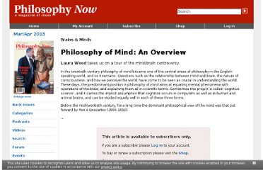 http://philosophynow.org/issues/87/Philosophy_of_Mind_An_Overview