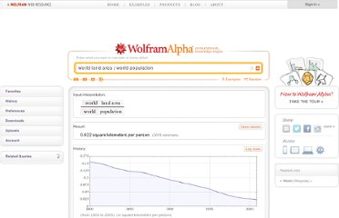 http://www.wolframalpha.com/input/?i=world+land+area+%2F+world+population