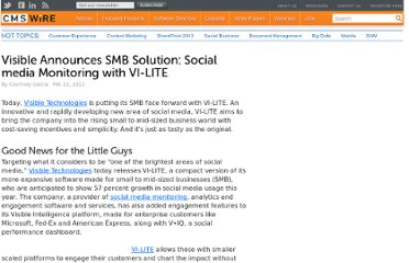 http://www.cmswire.com/cms/customer-experience/visible-announces-smb-solution-social-media-monitoring-with-vilite-014601.php