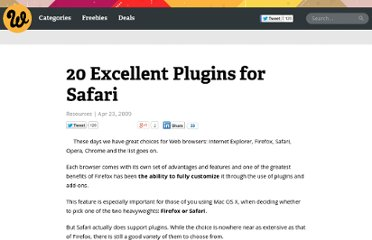 http://www.webdesignerdepot.com/2009/04/20-excellent-plugins-for-safari/
