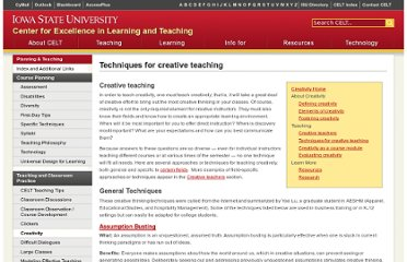 http://www.celt.iastate.edu/creativity/techniques.html