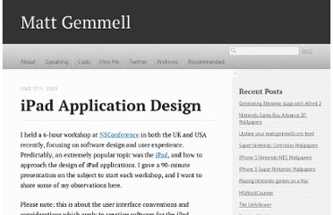 http://mattgemmell.com/2010/03/05/ipad-application-design