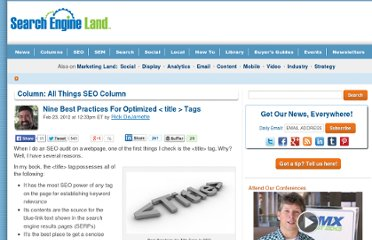 http://searchengineland.com/nine-best-practices-for-optimized-title-tags-111979