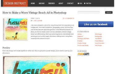 http://designinstruct.com/print-design/how-to-make-a-worn-vintage-beach-ad-in-photoshop/