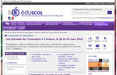 http://eduscol.education.fr/pid25272-cid59102/les-journees-de-l-innovation-a-l-unesco-le-28-et-29-mars-2012.html