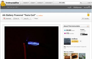 http://www.instructables.com/id/AA-Battery-Powered-Tesla-Coil/